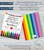 Back to School Luncheon Invitation, Editable Teacher PTA Invite, Crayon School Flyer Digital Printable Template INSTANT ACCESS 5x7 8.5x11