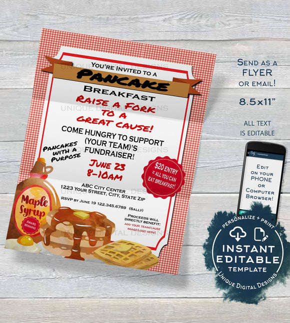 Pancake Breakfast Fundraiser FLYER Invitation, Editable Pancake Social, All you can eat Breakfast  Printable Custom