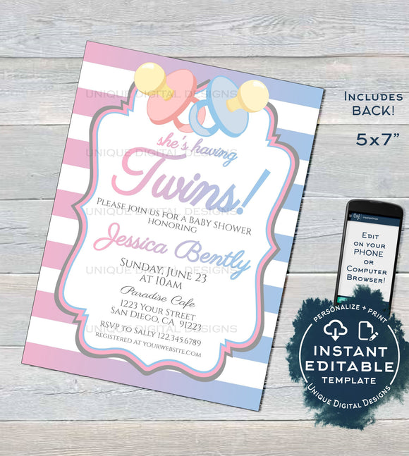 Twins Baby Shower Invitation, Editable Twin Girl Boy Baby Shower, Twin Babies Blue Pink Pacifier, Printable Template Custom INSTANT DOWNLOAD