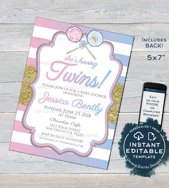 Twins Baby Shower Invitation, Editable Twin Girl Boy Baby Shower, 2 Babies Blue Pink Glitter Personalized Printable Custom