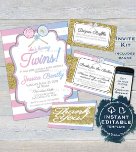 Twins Baby Shower Invitation KIT, Editable Diaper Raffle Books for Baby Insert Glitter Twin Boy and Girl Baby Shower Invite