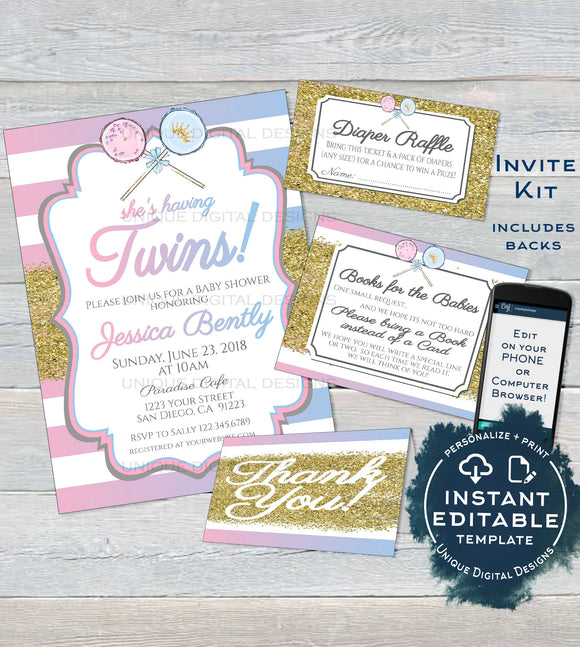 Twins Baby Shower Invitation KIT, Editable Diaper Raffle Books for Baby Insert Glitter Twin Boy and Girl Baby Shower Invite INSTANT DOWNLOAD
