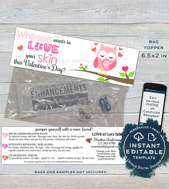 Valentine's Day Sample Bags Topper, Rodan and Skincare, Love your Skin, Owl Editable Product Instruction Card r f Printable INSTANT DOWNLOAD