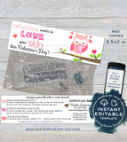 Valentine's Day Sample Bags Topper, Rodan and Skincare, Love your Skin, Owl Editable Product Instruction Card r f Printable