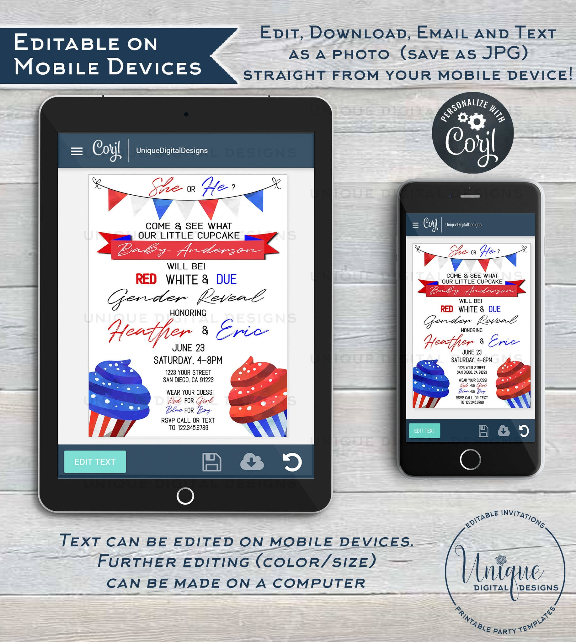 photograph relating to Closed Memorial Day Sign Printable referred to as Gender Describe Invitation, Editable Purple White and Because of 4th of July Memorial Working day Cupcake Youngster Shower, July 4th Social gathering Printable Fast Obtain