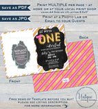 One-derful Birthday Invitation, Editable One Derful First Birthday Invite 1st Birthday Chalkboard  Custom Printable