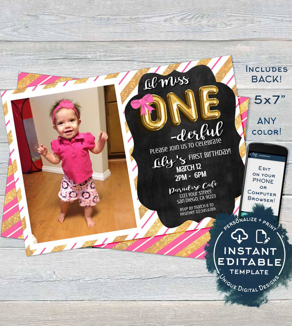 One-derful Birthday Invitation, Editable One Derful First Birthday Invite 1st Birthday Chalkboard Template Custom Printable INSTANT DOWNLOAD