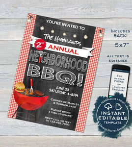 Neighborhood BBQ Invitation, Editable Backyard Summer Block Party Grill Out, hoa Community Street Party Printable