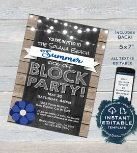 Block Party Invitation, Editable Street Party Neighborhood Summer Kick-off Invite, Backyard BBQ Rustic Printable Chalkboard