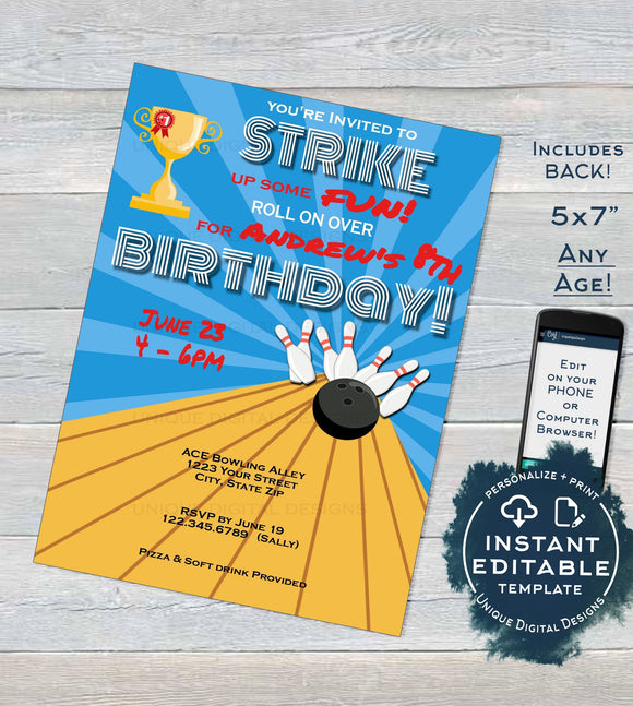 Bowling Birthday Invitation, Editable Bowling Party Strike up some Fun Invite, ANY Age Bowling Ball diy Template Printable INSTANT DOWNLOAD
