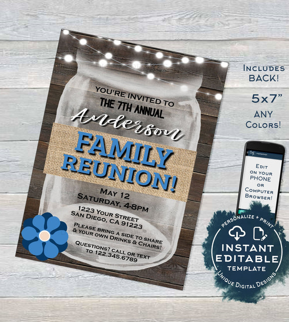 Family Reunion Invitation, Editable Annual Summer Kick-off, Backyard Family BBQ Party, Gathering Rustic Mason Jar Printable INSTANT DOWNLOAD