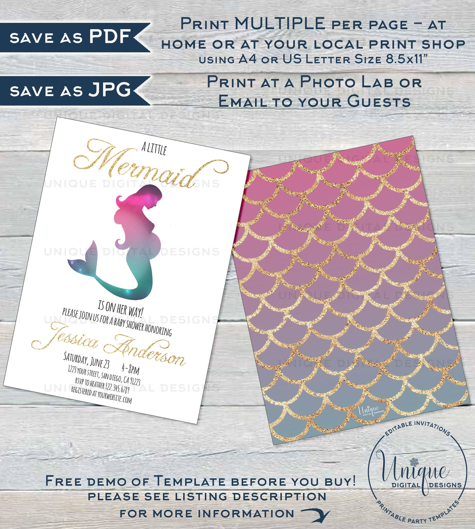 picture relating to Printable Mermaid Baby Shower Invitations identified as Mermaid Child Shower Invitation, Editable Lady Mermaid Gold