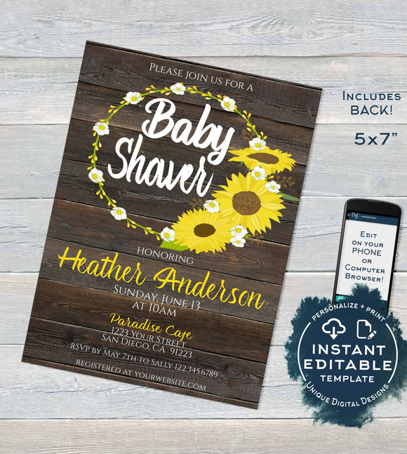 Sunflower Baby Shower Invitation, Editable Rustic Sunflower Invite, Rustic Baby Girl Boy Sunflower Theme, Printable Custom
