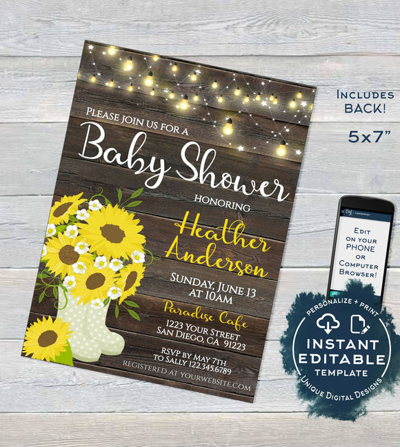 Rustic Sunflower Baby Shower Invitation, Editable Sunflower Invite Rustic Baby Girl Boy Sunflower Theme, Template Printable INSTANT DOWNLOAD
