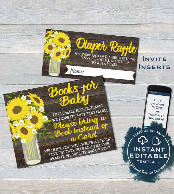 Sunflower Baby Shower Diaper Raffle Ticket, Books for Baby Shower Invitation Inserts, Editable Sunflower theme, Gift Card INSTANT DOWNLOAD