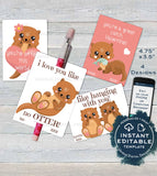 Otter Valentine Card, Kids Editable Valentines Day Otter Classroom, I love you like no Otter Favor Tags, Printable Template INSTANT DOWNLOAD