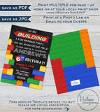 Block Party Invitation, Editable Boys Building Block Birthday Invite, Chalkboard Block Party, ANY Age, Custom Printable INSTANT DOWNLOAD 5x7