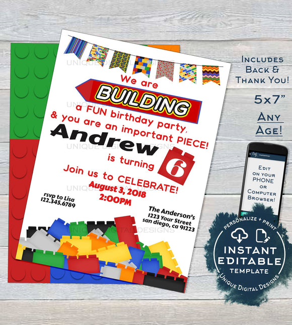 Block Party Invitation, Editable Boys Block Building Birthday Invite, Important Party Piece, ANY Age, Custom Printable INSTANT DOWNLOAD 5x7