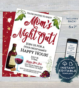 Editable Girl's Night Out Invitation, Cocktail Party Invite, Moms Night In, Ladies Wine & Cheese Custom Printable