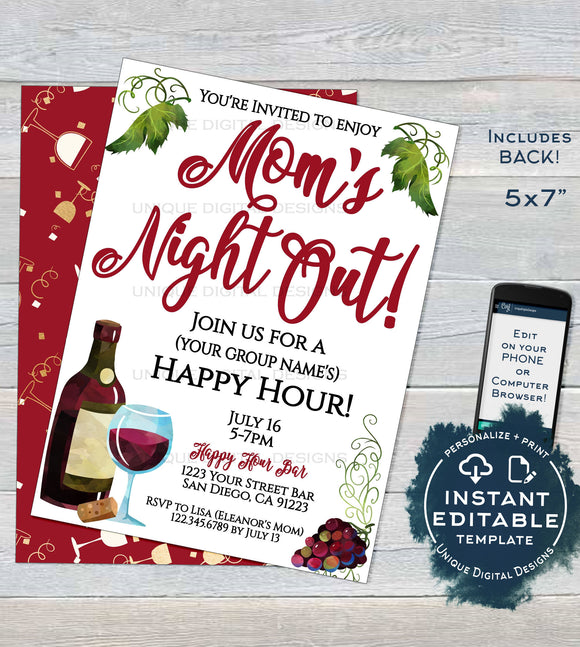 Editable Girl's Night Out Invitation, Cocktail Party Invite, Moms Night In, Ladies Wine & Cheese Custom Printable Template INSTANT DOWNLOAD
