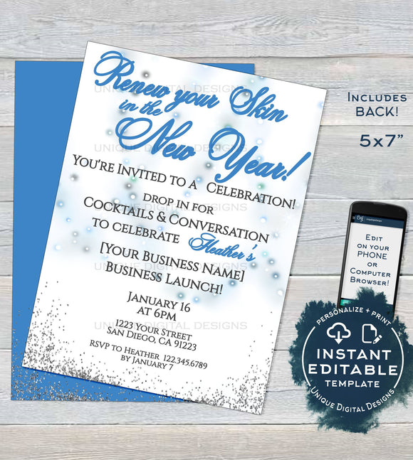 Rodan and Invitation, Editable Skincare Business Launch Party BBL Invite r f Fine Renew your skin New Year's Wine Printable INSTANT DOWNLOAD