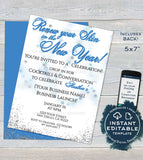 Rodan and Invitation, Editable Skincare Business Launch Party BBL Invite r f Fine Renew your skin New Year's Wine Printable