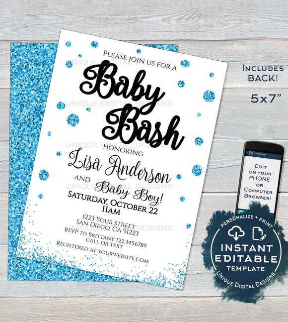 Baby Bash Shower Invitation, Editable Baby Sprinkle Invite, Baby Boy Blue Glitter Champagne, Custom Printable Template INSTANT DOWNLOAD 5x7