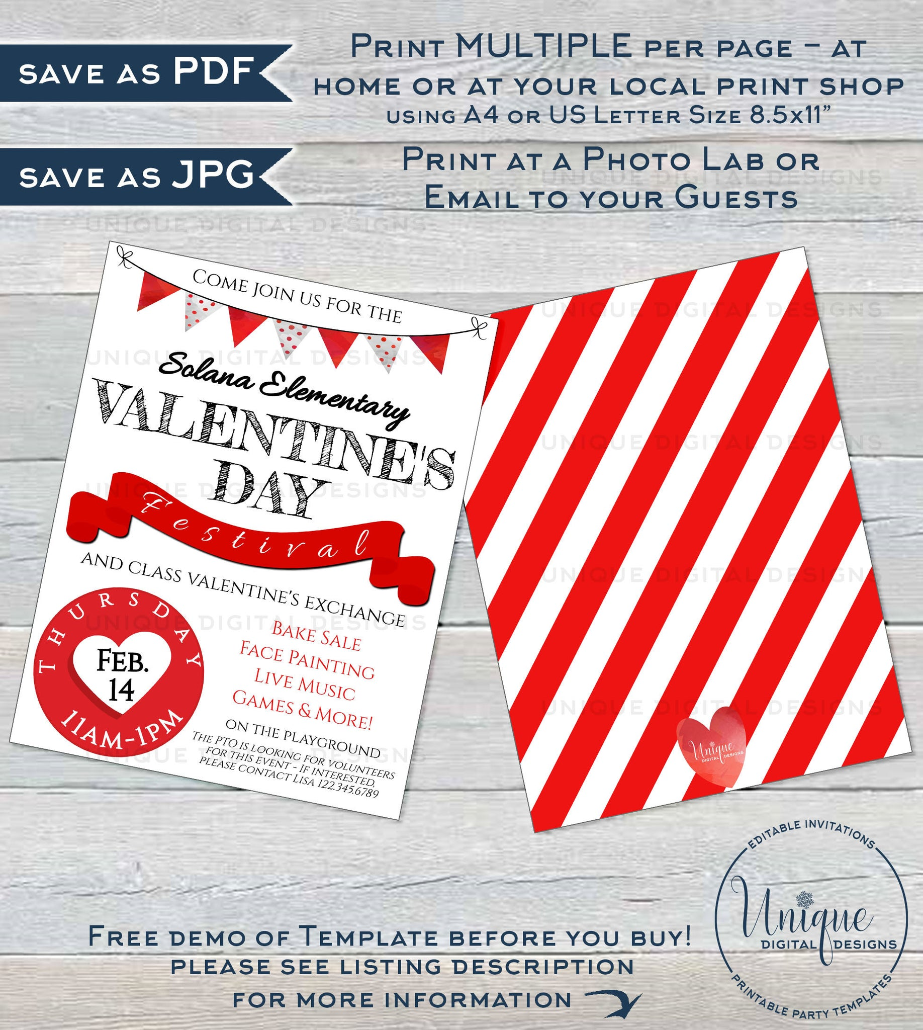 Valentines Day Festival Flyer Editable Class Party Invitation Print