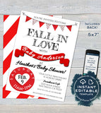 Valentine's Day Baby Shower Invitation, Boy Editable Girl Baby Shower Invite, Little Sweetheart, Fall in Love Printable INSTANT DOWNLOAD 5x7