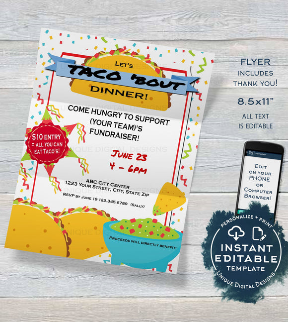 Taco Dinner Fundraiser FLYER Invitation, Editable All you can eat Taco Bout a Party Fundraiser, diy Fiesta Printable INSTANT DOWNLOAD 8.5x11