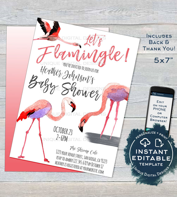 Let's Flamingle Baby Shower Invitation, Editable Girl Baby Sprinkle Invite Pink Flamingo Baby Shower Printable