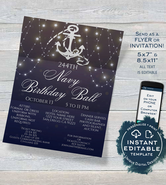 Military Ball Flyer, Navy Birthday Ball Invitation Editable Military Ball Flyer Party Ooh Rah Printable Template INSTANT DOWNLOAD 5x7 8.5x11