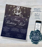 Military Ball Flyer, Navy Birthday Ball Invitation Editable Military Ball Flyer Party Ooh Rah Printable
