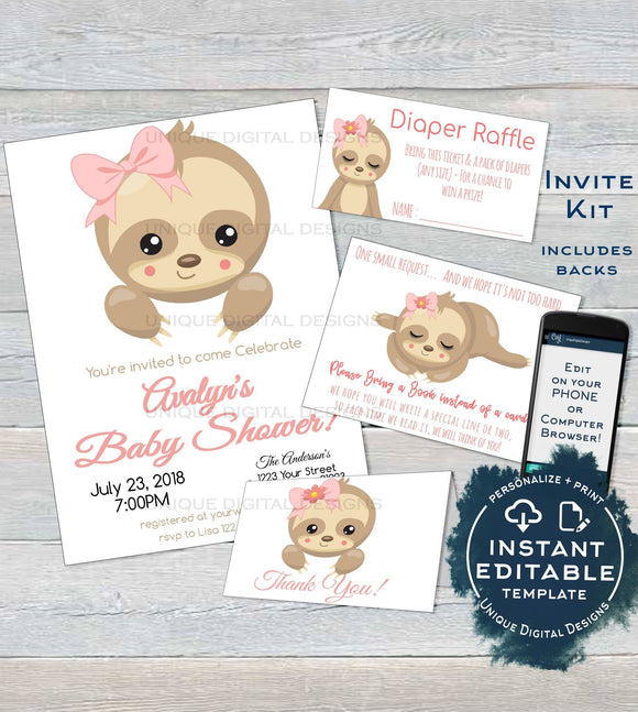 Sloth Baby Shower Invitation KIT, Editable Girls Sloth Baby Shower Invite Baby Sloth Diaper Raffle Books for Baby Printable
