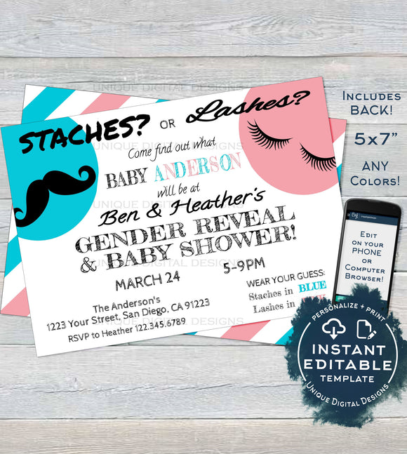 Staches or Lashes Gender Reveal Invitation, Lashes or Staches Baby Shower Invite Mustache Bow Custom Printable INSTANT ACCESS 5x7