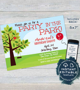 Park Birthday Party Invitation, Editable BBQ Picnic Party in the Park Invite, Playground Swing, Any Age, Printable Custom INSTANT DOWNLOAD