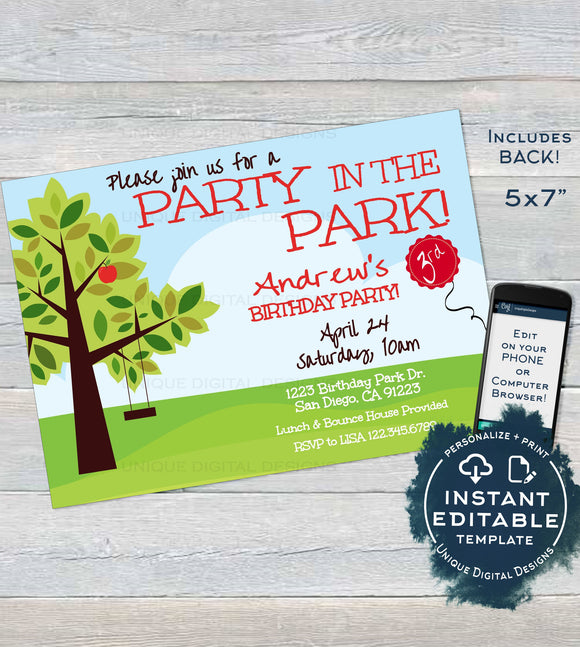Park Birthday Party Invitation, Editable BBQ Picnic Party in the Park Invite, Playground Swing, Any Age, Printable Custom INSTANT ACCESS