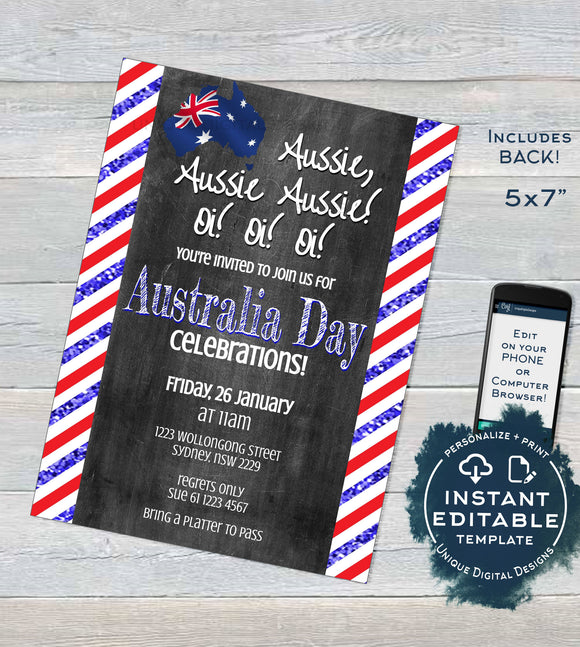 Australia Day Invitation, Editable Aussie Invite Aussie Oi 26 January Flag Summer Party, Chalkboard Personalized bbq INSTANT DOWNLOAD 5x7 A4