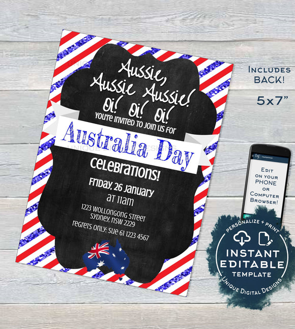 Editable Australia Day Invitation, Aussie Invite Oi Oi 26 January Flag Summer bbq Party, Chalkboard Australia Party INSTANT DOWNLOAD 5x7 A4