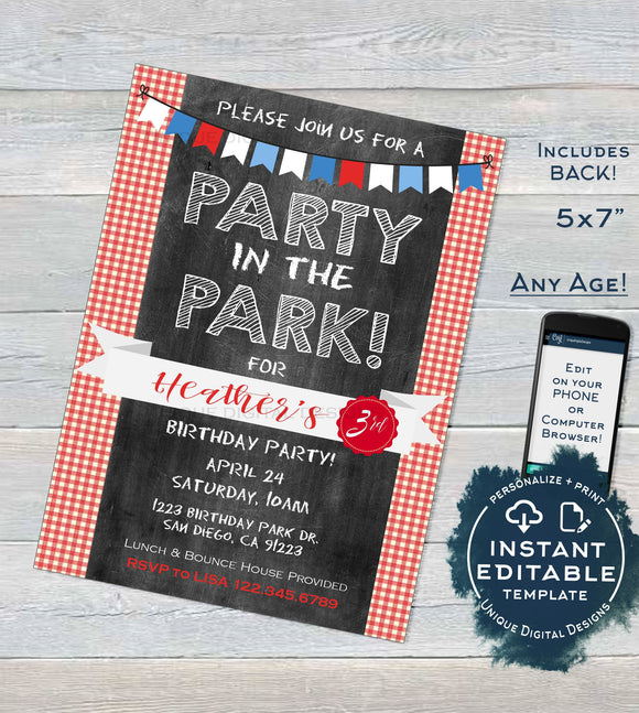 Park Birthday Party Invitation, Editable BBQ Picnic Party in the Park Party Invite, Playground Any Age Printable Custom