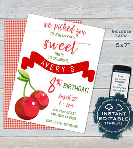 Cherry Birthday Invitation, Editable Girls Birthday Party Invite, We picked You for a Sweet Party Any Age, Printable Custom INSTANT DOWNLOAD
