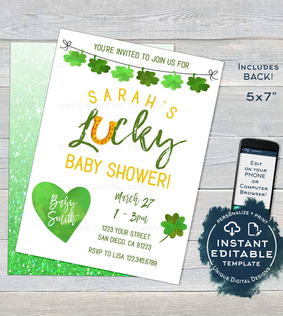 St Patricks Day Baby Shower Invitation, Editable Lucky Baby Party Invite, Lucky in Love Baby, Green Gold Printable Custom