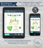 St Patricks Day Baby Shower Invitation, Editable Lucky Baby Party Invite, Lucky in Love Baby, Green Gold Printable Custom INSTANT DOWNLOAD