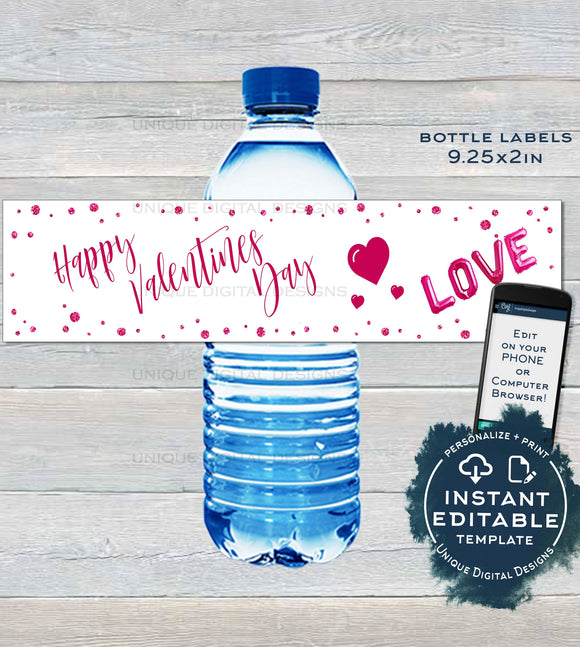Editable Valentine Water Label Bottle Wrap, Happy Valentines Day Party Printable, Pink Glitter Hearts ,Custom Personalize INSTANT DOWNLOAD