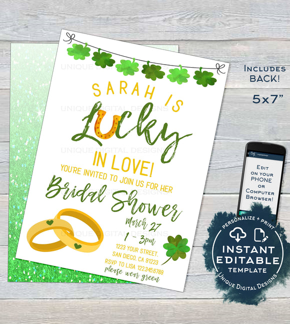 St Patrick's Day Bridal Shower Invitation, Editable Lucky in Love Wedding Party Invite, Lucky Green Gold Custom Printable