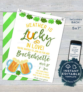 St Patrick's Day Bachelorette Invitation, Editable Lucky in Love Wedding Party Invite, Lucky Green Beer Custom Printable INSTANT DOWNLOAD