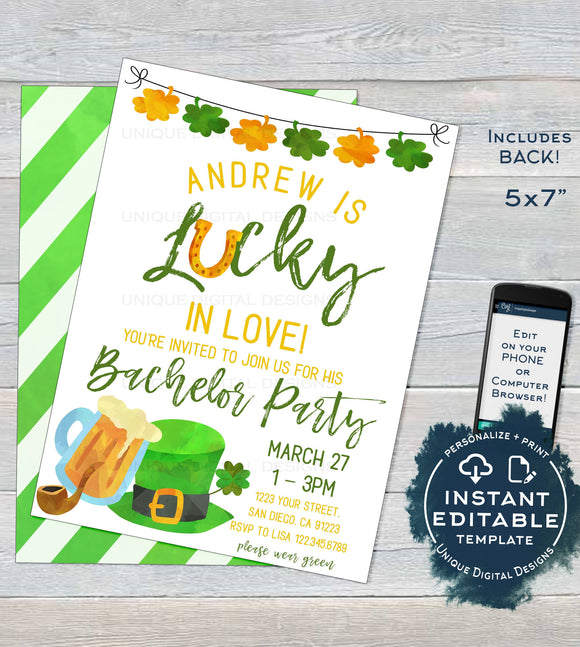 St Patrick's Day Bachelor Invitation, Guys Editable Lucky in Love Wedding Party Invite, Lucky Green Beer Custom Printable