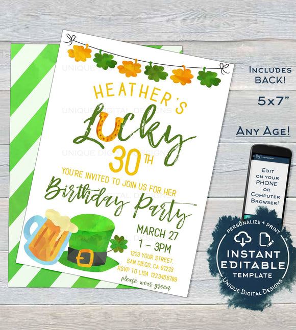 St Patrick's Day Birthday Invitation, Editable Dirty 30 Adult Birthday Party Invite, Lucky Green Beer Custom diy Printable