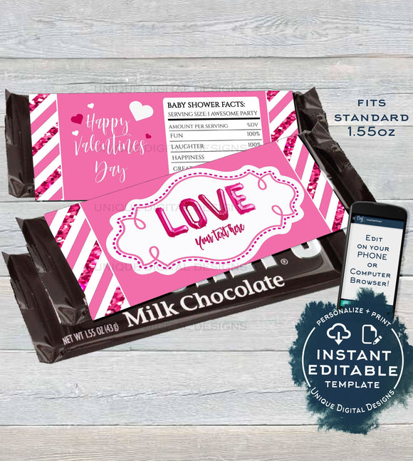 Valentines Day Chocolate Wrapper , Editable Love Theme, Baby Shower Decorations, Custom Baby Girl Printable  1.55oz