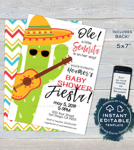 Senorita Baby Shower Invitation, Editable Baby Fiesta Invite, Taco bout a Baby Cinco de Mayo Fiesta, Printable